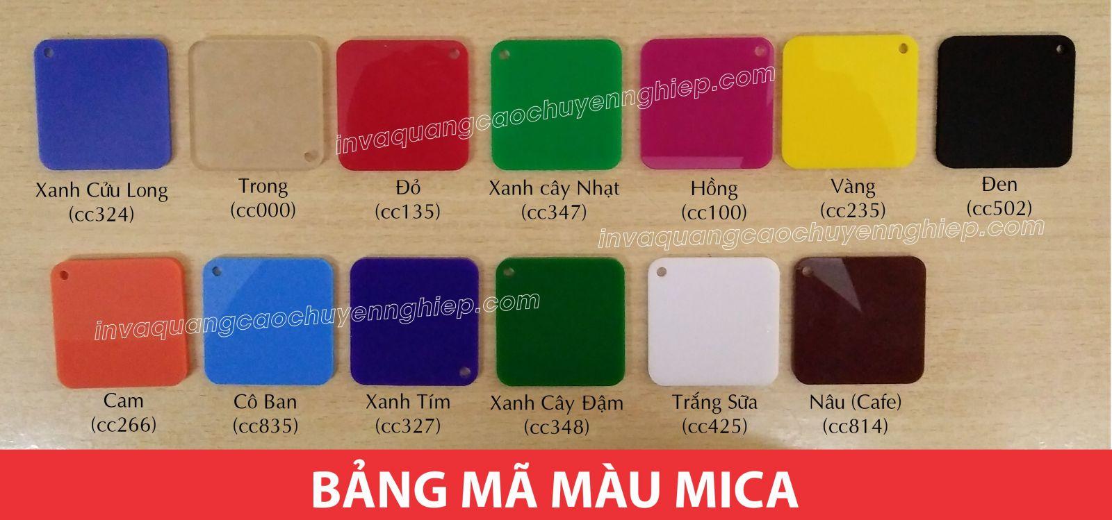 bảng mã màu chất liệu mica