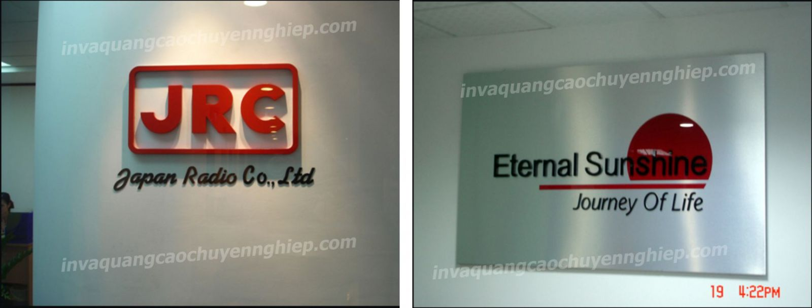 Làm biển lễ tân, logo backdrop văn phòng bằng mica và inox