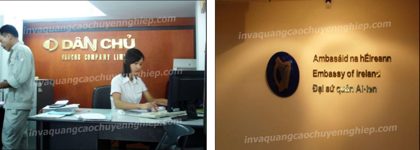 Làm biển lễ tân, logo backdrop văn phòng bằng đồng