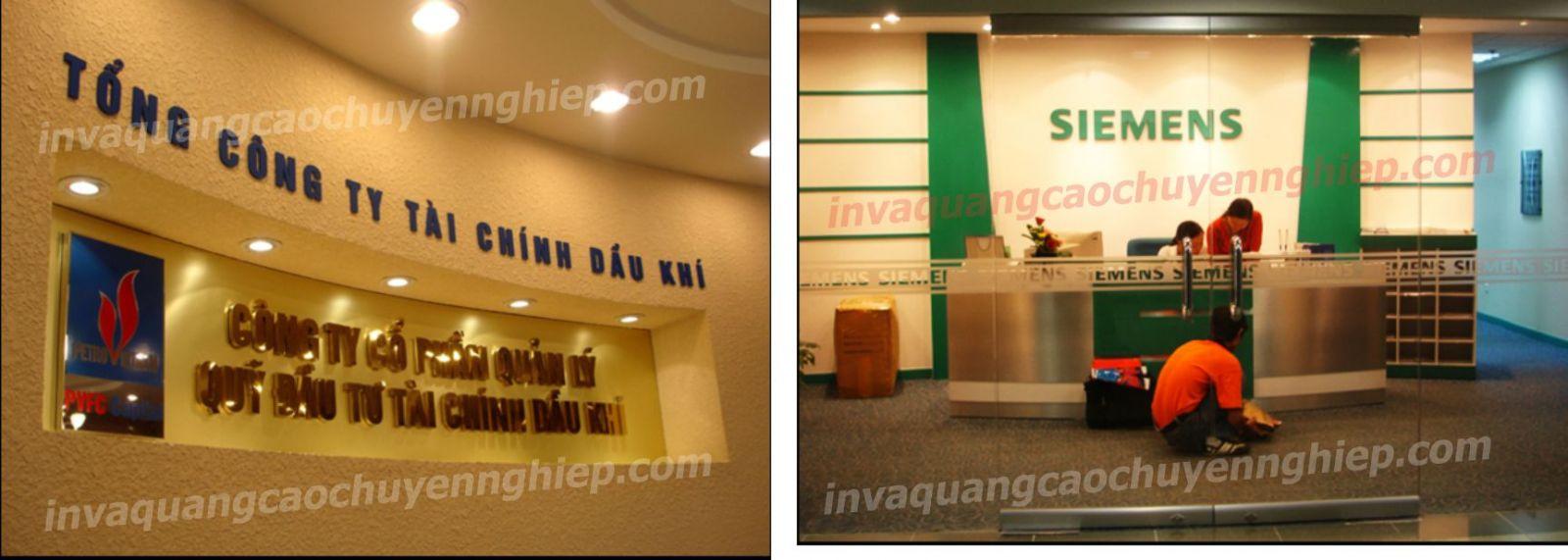 Làm biển lễ tân, logo backdrop văn phòng bằng mica và inox sáng bóng