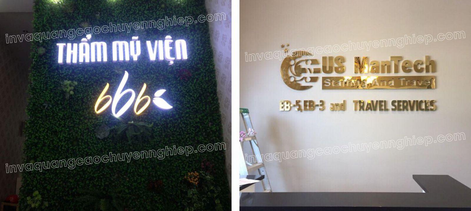 Làm biển lễ tân, logo backdrop văn phòng bằng mica và inox đèn led