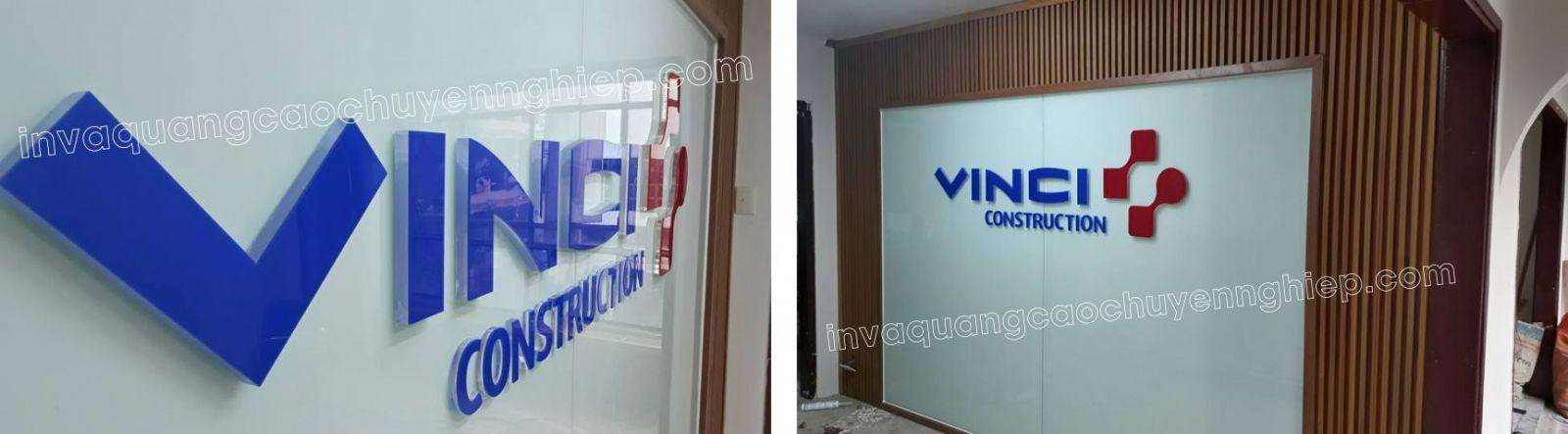 Làm biển lễ tân, logo backdrop văn phòng bằng mica