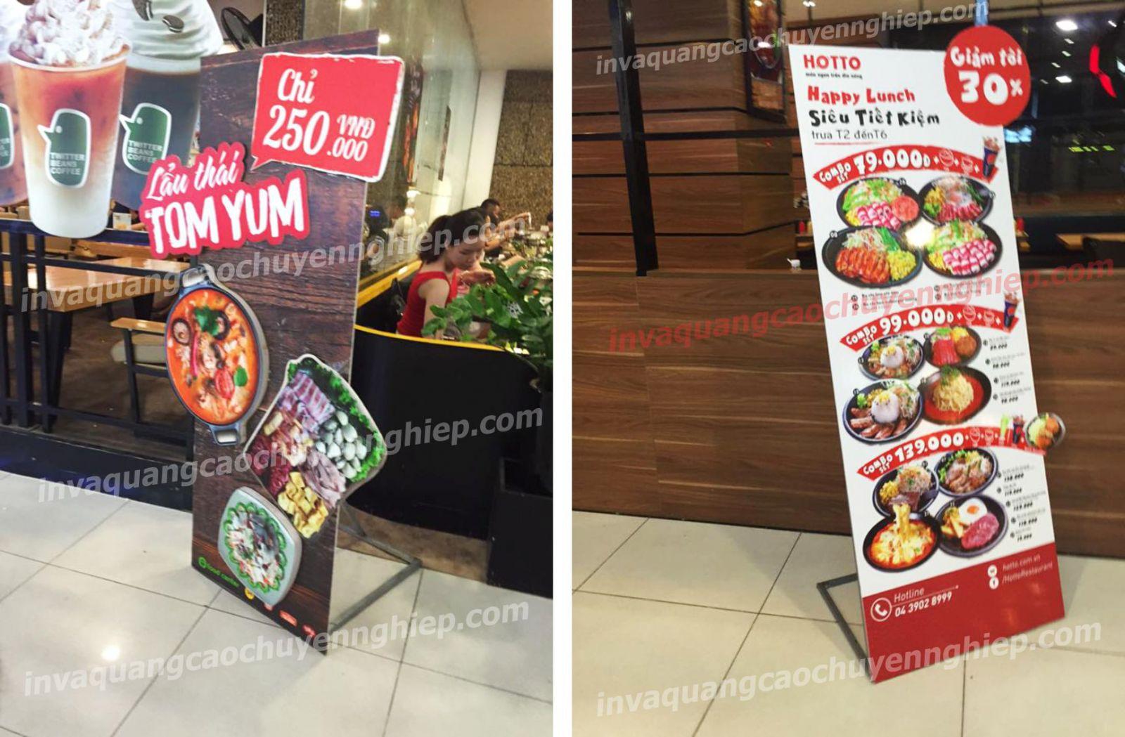standee mô hình lẩu thái tom yum và quán ăn hotto in decal pp bồi formex