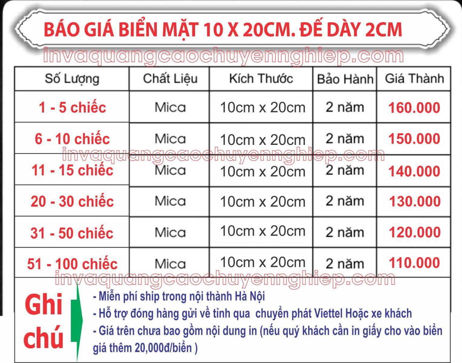 báo giá biển chức danh mica 10x20cm đế dày 2cm