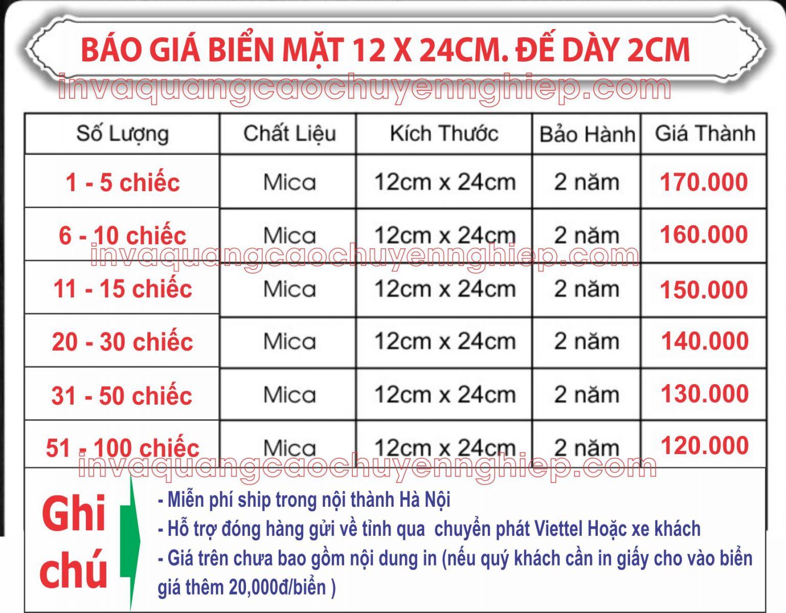 báo giá biển chức danh mica 12x24cm đế dày 2cm